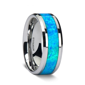 titanium wedding band with polished beveled edges and a turquoise opal inlay