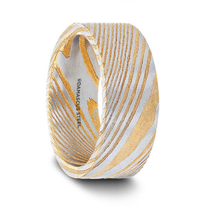 gold damascus steel men's wedding band with a vivid etched design