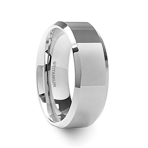 9 mm men's titanium wedding ring with polished beveled edges and a raised center