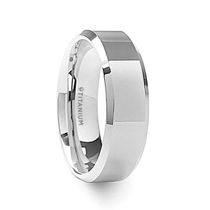 8 mm men's titanium wedding ring with polished beveled edges and a raised center