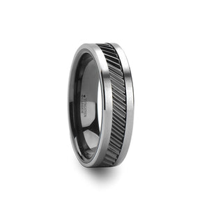 10 mm black ceramic and tungsten carbide ring with a gear teeth patterned inlay