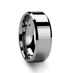 8 mm rectangular faceted tungsten carbide ring with beveled edges