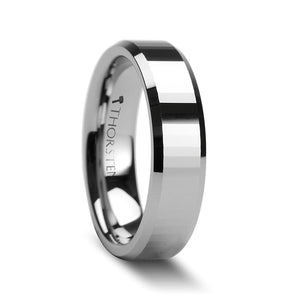 6 mm rectangular faceted tungsten carbide ring with beveled edges