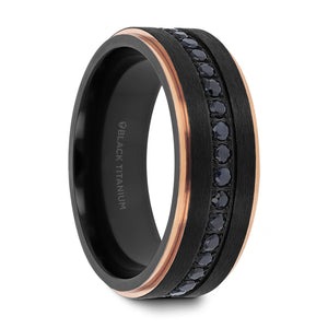 9 mm flat brushed black titanium ring with black sapphires and rose gold plated edges