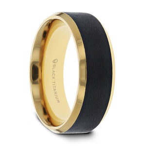 9 mm brushed black titanium ring with polished beveled edges and a gold plated interior
