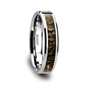 8 mm dinosaur bone inlaid tungsten carbide ring with beveled edges