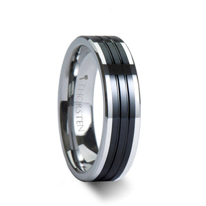 8 mm pipe cut grooved tungsten ring with a black ceramic inlay