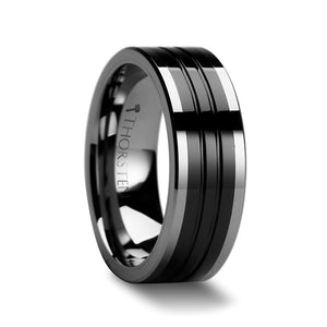 12 mm pipe cut grooved tungsten ring with a black ceramic inlay