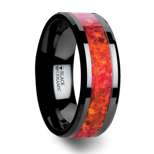 10 mm black ceramic wedding band with beveled edges and a bright red opal inlay