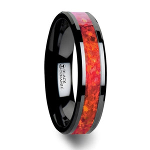 7 mm black ceramic wedding band with beveled edges and a bright red opal inlay