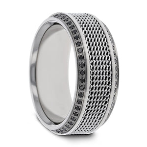 10 mm steel chain titanium ring with round black diamonds and polished beveled edges