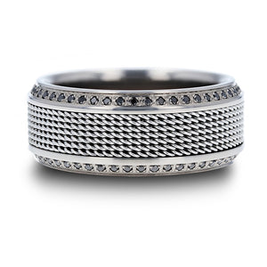 12 mm steel chain titanium ring with round black diamonds and polished beveled edges