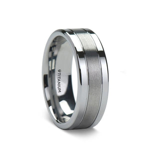 titanium wedding ring with a brushed center and polished edges