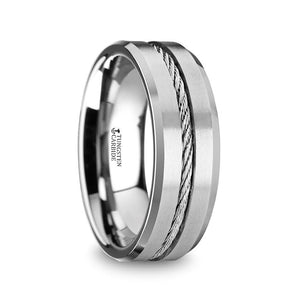 10 mm men's tungsten wedding band with a steel wire cable inlay and beveled edges