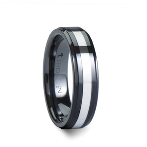 8 mm black ceramic men's ring with a raised tungsten inlay