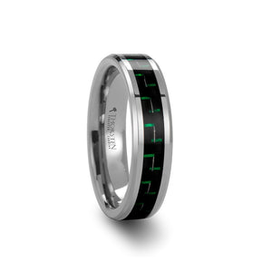 6 mm tungsten carbide ring with a black and green carbon fiber inlay