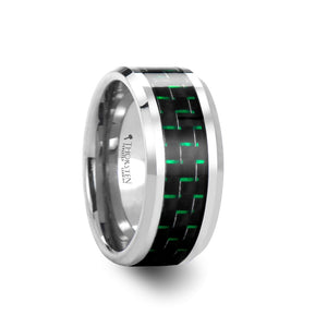 8 mm tungsten carbide ring with a black and green carbon fiber inlay