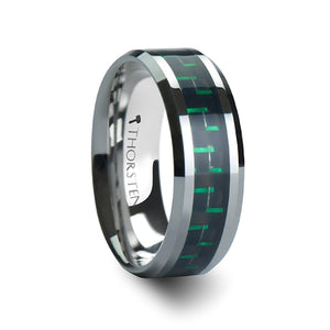 10 mm tungsten carbide ring with a black and green carbon fiber inlay
