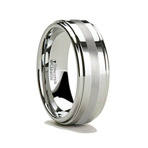 tungsten carbide ring with a brushed center.