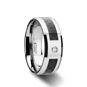 10 mm tungsten carbide ring with a black carbon fiber inlay and a diamond setting
