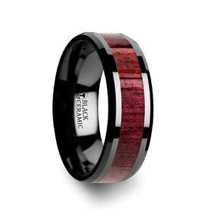 10 mm black ceramic wedding band with a purpleheart wood inlay and beveled edges