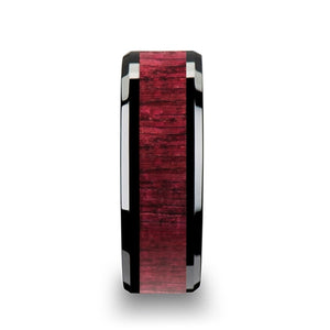 8 mm black ceramic wedding band with a purpleheart wood inlay and beveled edges