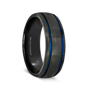 black titanium men's wedding ring with blue grooves and a brushed finish