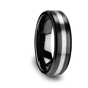 7 mm brushed black ceramic ring with beveled edges and a tungsten inlay