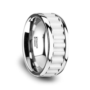10 mm tungsten carbide wedding band with a gear teeth inlay and polished edges