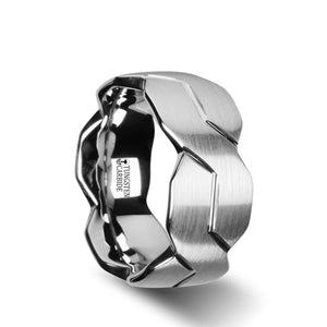 10 mm brushed tungsten carbide ring with a carved infinity symbol design