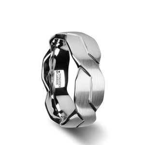8 mm brushed tungsten carbide ring with a carved infinity symbol design