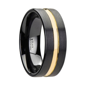 10 mm black ceramic wedding band with a yellow gold groove