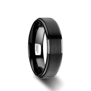 6 mm flat black tungsten ring with a brushed raised center and polished edges