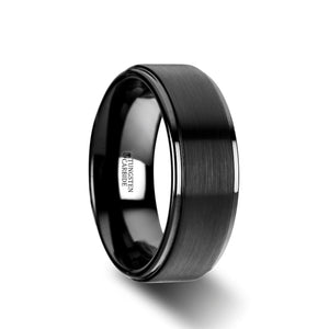 8 mm flat black tungsten ring with a brushed raised center and polished edges