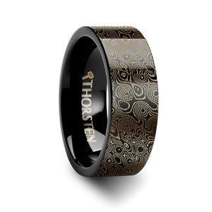 damascus steel engraved pattern black tungsten engraved ring