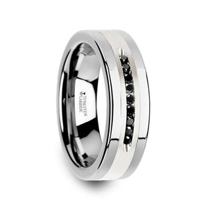 flat tungsten wedding band with a brushed silver inlay and a 9 channel set of black diamonds
