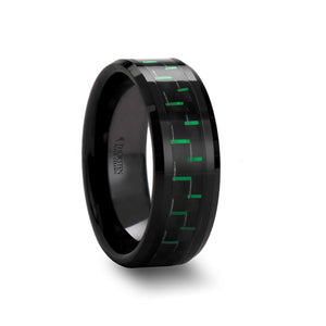 8 mm black ceramic ring with a black and green carbon fiber inlay and beveled edges