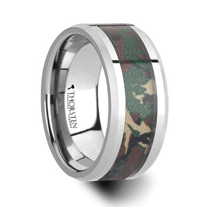 10 mm tungsten wedding ring with a military style jungle camo inlay