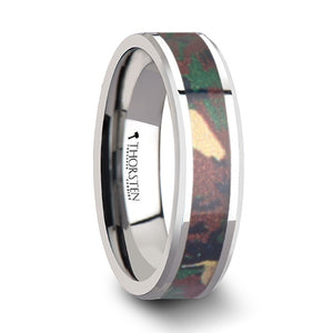 4 mm tungsten wedding ring with a military style jungle camo inlay
