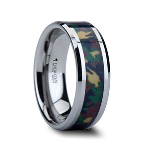7 mm tungsten wedding ring with a military style jungle camo inlay
