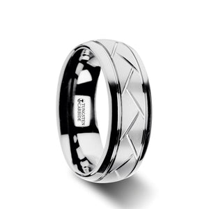8 mm domed tungsten ring with crisscross grooves and a brushed finish