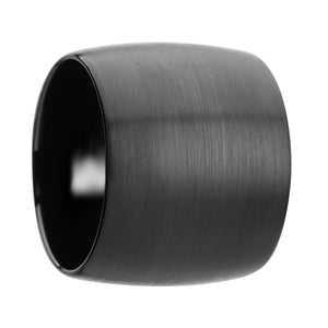 20 mm domed black tungsten carbide ring with brushed finish