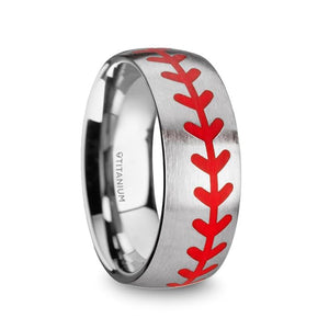 8 mm titanium brushed finish ring with red baseball stitching pattern