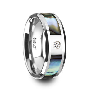 8 mm mother of pearl inlaid tungsten carbide ring with beveled edges and a white diamond