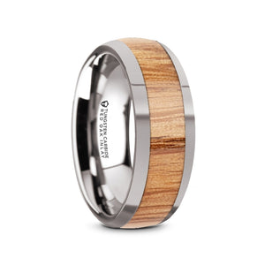 domed tungsten wedding band with a red oak wood inlay