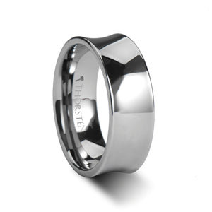 10 mm concave tungsten ring with a polished finish