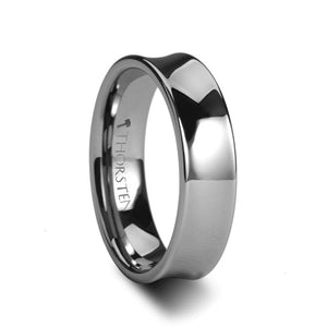 7 mm concave tungsten ring with a polished finish