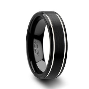 4 mm black tungsten carbide wedding band with a brushed finish and polished grooves