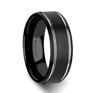 8 mm black tungsten carbide wedding band with a brushed finish and polished grooves