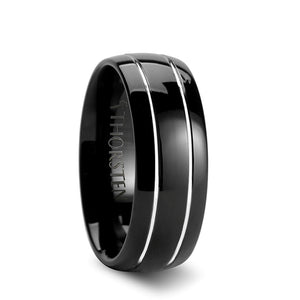 6 mm black domed tungsten ring with offset grooves